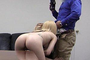 blonde tattoo slut gets spunked over her big tits